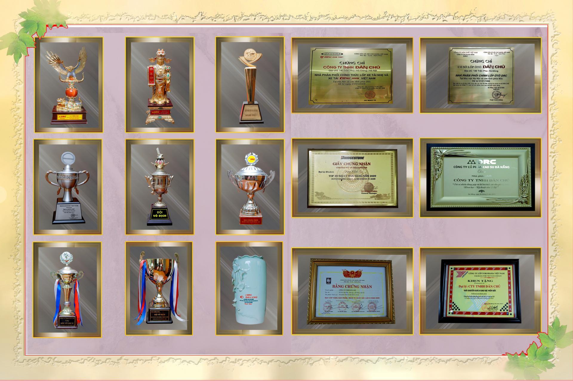 Hình ảnh một số giải thưởng tiêu biểu được trao tặng bởi các cơ quan nhà nước và các hãng lốp xe nổi tiếng.