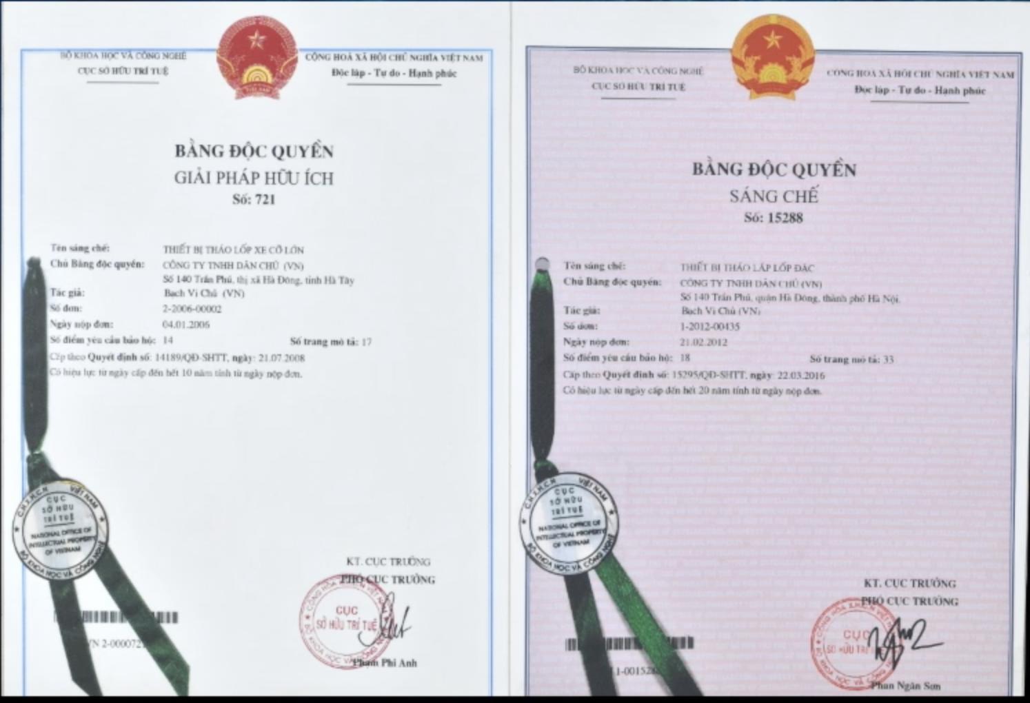 Ông Bạch Vi Chủ vinh dự được cấp bằng sáng chế độc quyền thiết bị tháo lắp lốp xe cỡ lớn và thiết bị tháo lắp lốp đặc bởi cục sở hữu trí tuệ năm 2008 và 2016.